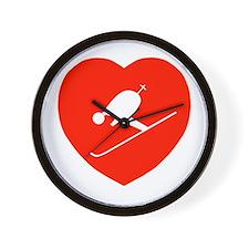 Love Skiing Heart Wall Clock