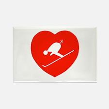 Love Skiing Heart Rectangle Magnet