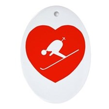Love Skiing Heart Oval Ornament