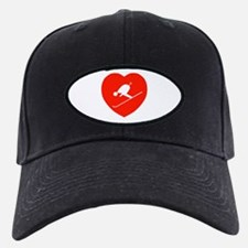 Love Skiing Heart Baseball Hat