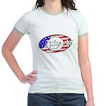 Patriotic Peace Happy Face Jr. Ringer T-Shirt