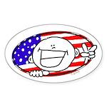 Patriotic Peace Happy Face Oval Sticker