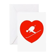 Love Skiing Heart Greeting Card