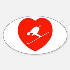 Love Skiing Heart Oval Decal