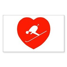 Love Skiing Heart Rectangle Decal