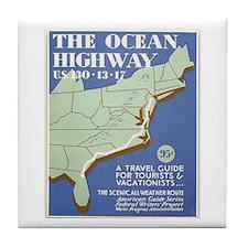 Ocean Highway Vintage WPA Art Tile Coaster