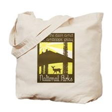 National Parks Deer Antelope Play WPA Art Tote Bag