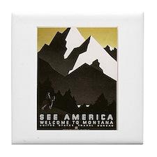 Montana Travel Vintage WPA Art Tile Coaster