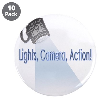 "Lights, Cameras, Action! 3.5"" Button (10 pack)"