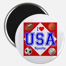 I Love USA Sports Magnet