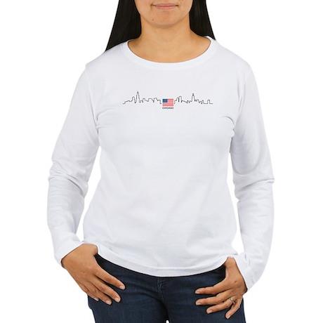 US Flag Chicago Skyline Women's Long Sleeve T-Shir