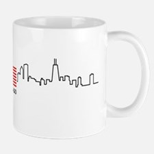 US Flag Chicago Skyline Mug