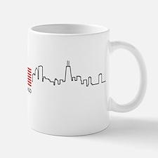 US Flag Chicago Skyline Small Mugs