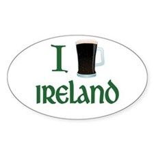 I Love Ireland (beer) Oval Sticker (10 pk)