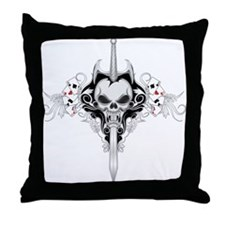 Sword Skull - BLK Throw Pillow