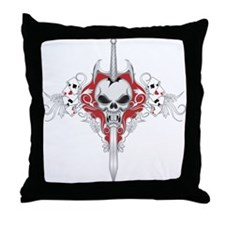 Sword Skull - RED Throw Pillow