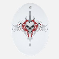 Sword Skull - RED Oval Ornament