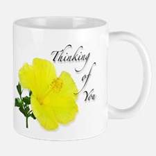Yellow Hibiscus Flower Thinking of You Mug