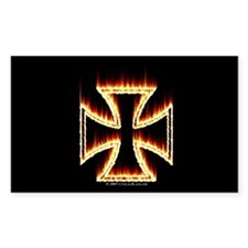 Flames Iron Cross Rectangle Decal