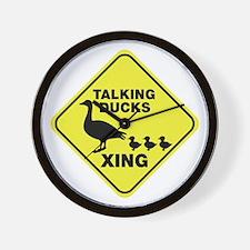 Talking Ducks Crossing Wall Clock