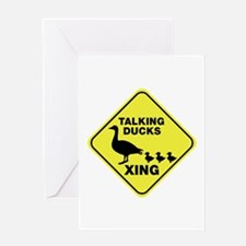Talking Ducks Crossing Greeting Card