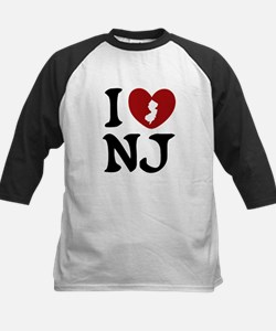 I Love New Jersey Kids Baseball Jersey