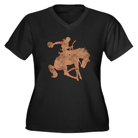 Rodeo Cowboy Women's Plus Size V-Neck Dark T-Shirt