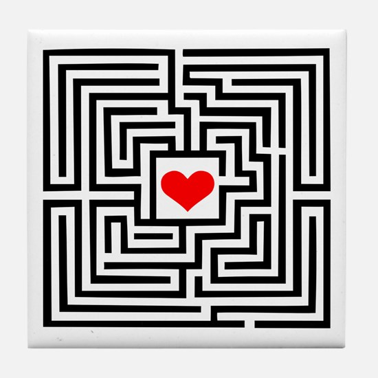 Labyrinth - Heart Tile Coaster