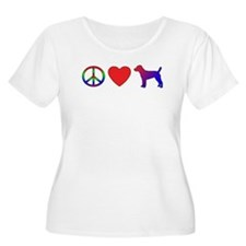 Peace Love Patterdale Terrier T-Shirt
