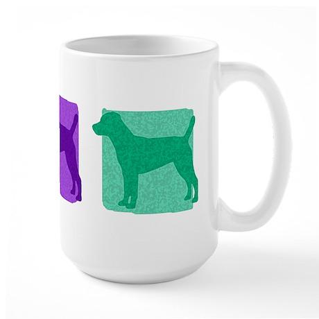Color Row Patterdale Terrier Large Mug