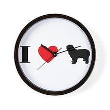 I Heart Polish Lowland Sheepdog Wall Clock
