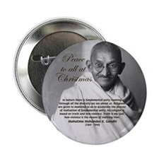 """Gandhi Peace Christmas Gift 2.25"""" Button (100 pac"""