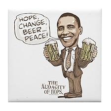 Hope, Change, Beer Tile Coaster