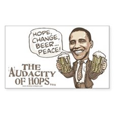 Hope, Change, Beer Rectangle Decal