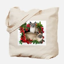 Siamese Cats in Berries Tote Bag