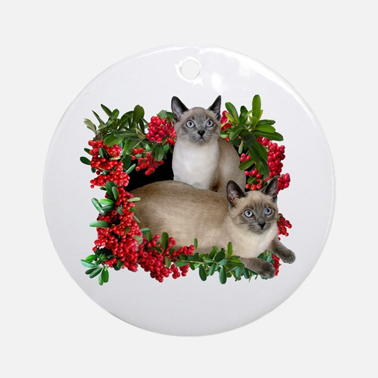 Siamese Cats in Berries Ornament (Round)