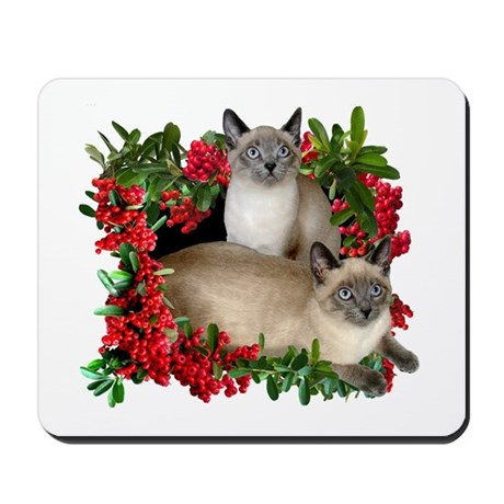 Siamese Cats in Berries Mousepad