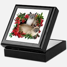 Siamese Cats in Berries Keepsake Box