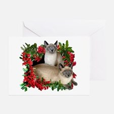 Siamese Cats in Berries Greeting Cards (Pk of 10)