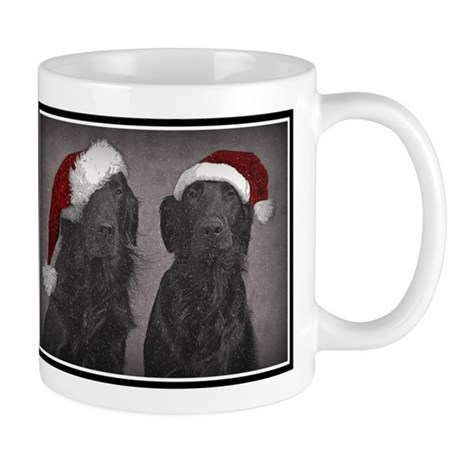 Flatcoat Christmas greeting Mugs