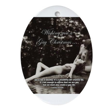 Erotic Gay Lesbian Christmas Oval Ornament