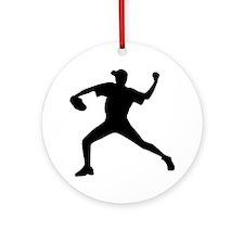 Baseball - Pitcher Ornament (Round)