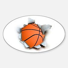 Basketball Burster Oval Sticker (50 pk)