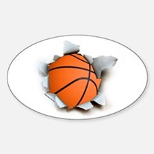 Basketball Burster Oval Sticker (10 pk)