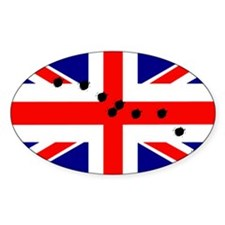 British flag bullet holes Oval Stickers