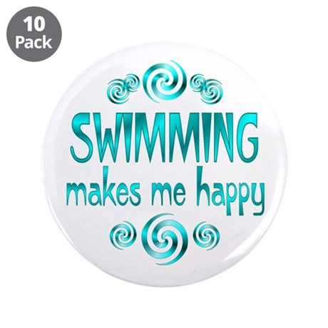 """Swimming 3.5"""" Button (10 pack)"""