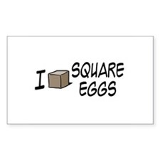 I Love Square Eggs Rectangle Decal