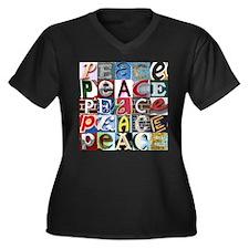 PEACE Signs Women's Plus Size V-Neck Dark T-Shirt