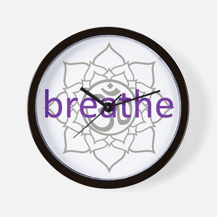 breathe Om Lotus Blossom Wall Clock