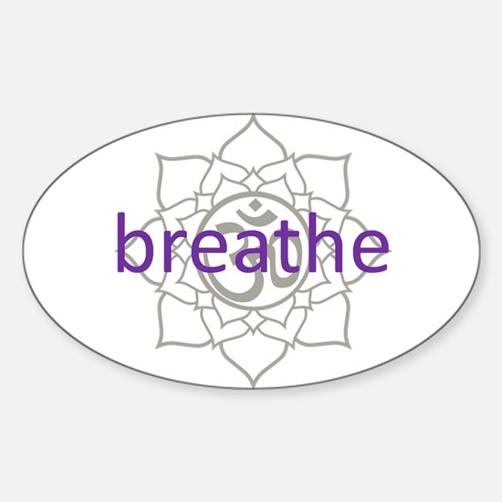breathe Om Lotus Blossom Oval Decal